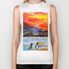 True Friendship Inspirational Love Quote With Penguins Painting Biker Tank