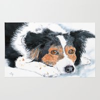 border collie Area & Throw Rugs featuring Border Collie Mattie by Yvonne Carter