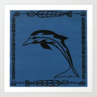 blue dolphin Art Print