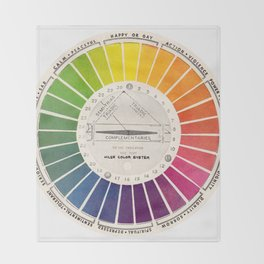 Vintage Color Wheel - Art Teaching Tool - Rainbow Mood Chart Throw Blanket