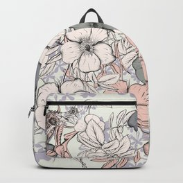Flower vintage design with wild roses in english style Backpack