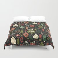 holiday Duvet Covers featuring Holiday Ornaments  by Anna Deegan