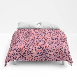Terrazzo pink red blue Comforters