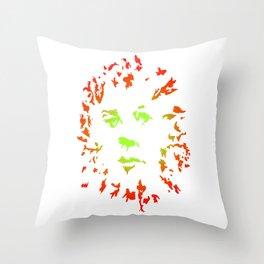 Green Flower Face Throw Pillow