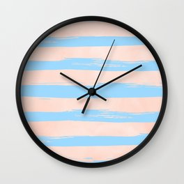 Trendy Stripes - Sweet Peach Coral on Blue Raspberry Wall Clock