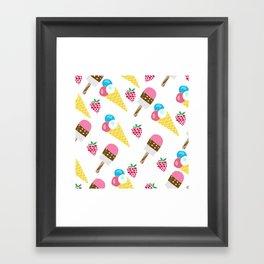 Tasty ice cream and raspberries.  Pattern. Framed Art Print