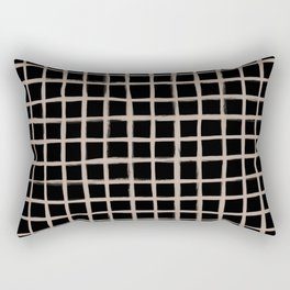 Strokes Grid - Nude on Black Rectangular Pillow