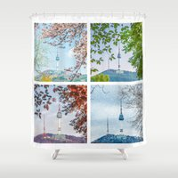 seoul Shower Curtains featuring Seoul Tower Seasons - Square by Zayda Barros