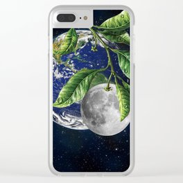 Full moon and Earth Clear iPhone Case