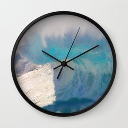 White Pipeline Wave Wall Clock
