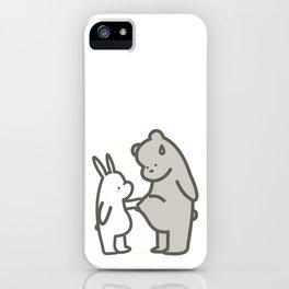 Cute Bear & Bunny Cartoon Painting iPhone Case