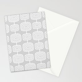 Mid Century Modern Atomic Rings Pattern 731 Gray Stationery Cards