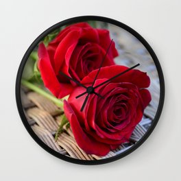 Two Elegant Red Roses on Rattan Table Wall Clock
