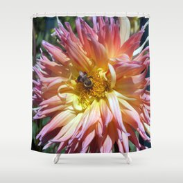 The Apricot Dahlia And The Bee Shower Curtain