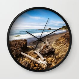 Remnants - Driftwood Logs Come to Rest on Shore of Washington Coast Wall Clock