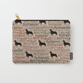 Rottweiler silhouette and word art pattern Carry-All Pouch
