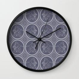 Grisaille Charcoal Blue Grey Neo-Classical Ovals Wall Clock