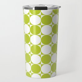 Green and White Circle Pattern Travel Mug