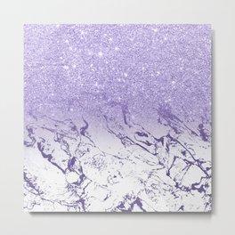 Modern ultra violet glitter ombre marble color block Metal Print