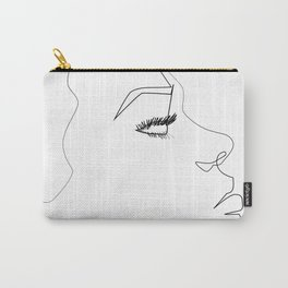 ''Profile Collection''- Woman One Line Face Profile Print Carry-All Pouch