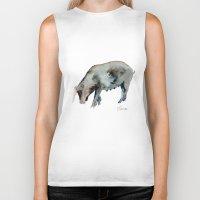pig Biker Tanks featuring Pig by Elena Sandovici