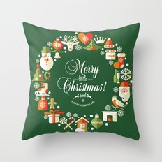 Arteresting Merry Christmas V3 - Vintage Cool New Year Gifts Design. Throw Pillow