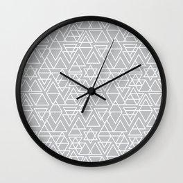 Gray and White Geometric Triangle Pattern Wall Clock