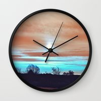 night sky Wall Clocks featuring Night sky by J's Corner