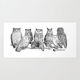 Owls - Ink Drawng Art Print
