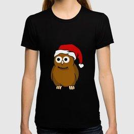 Christmas Owl With Santa Hat Predator Bird Nocturnal T-shirt
