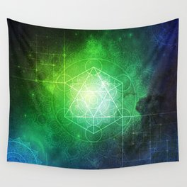 Abstract Deep Space Portal Blue-Green Wall Tapestry