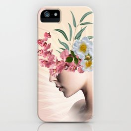 lady with flowers (portrait) iPhone Case