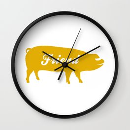 Pig Friend (yellow) Wall Clock