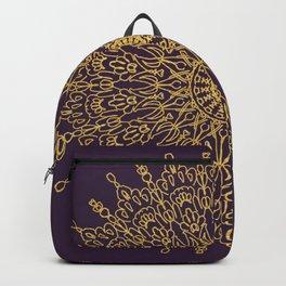 Gold Mandala Line Drawing on violet Backpack