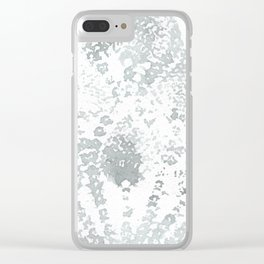 Gray and White Lace Watercolor Print Clear iPhone Case