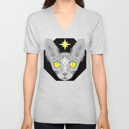 Sphynx Cat Black Pattern Unisex V-Neck