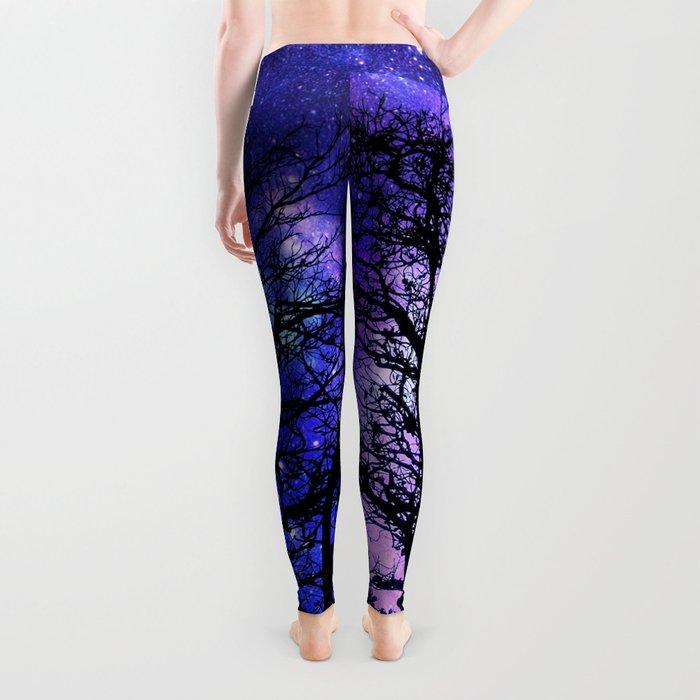 Black Trees Blue Violet Purple Space Leggings