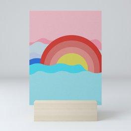 Sunset on the Ocean Illustration Art Print Mini Art Print