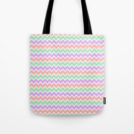 Coral Peach Pink and Lavender and Mint Green Chevron Tote Bag