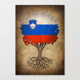 Vintage Tree of Life with Flag of Slovenia Canvas Print