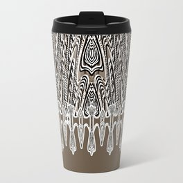 Dark Coffee Macramé Arrowhead Lace Pattern Travel Mug