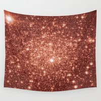 rose gold Wall Tapestries featuring rose gold stars by GalaxyDreams