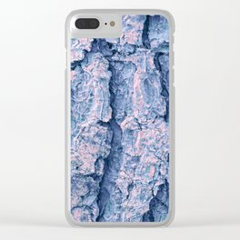 Soft blue and coral pine tree bark Clear iPhone Case