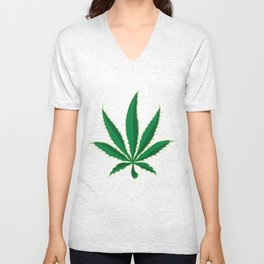 Marijuana Pot Leaf Unisex V-Neck