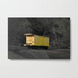 Eleutherian Mills Yellow Boxcar Powder Keg Transport Vintage Rolling Stock Metal Print
