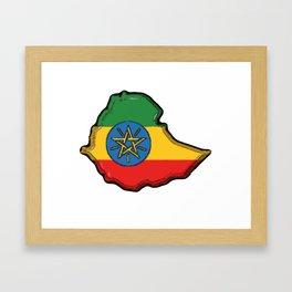 Ethiopia Map with Ethiopian Flag Framed Art Print