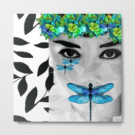 DRAGONFLY WOMAN #3 Sophisticated Blue Metal Print