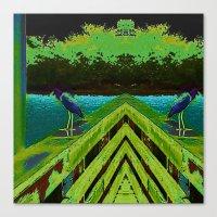 matisse Canvas Prints featuring Heron Matisse by Ellen Turner