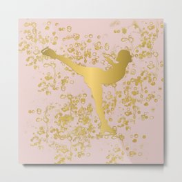 Figure Skater in Golden Flakes and Pink-Graphic Design Metal Print