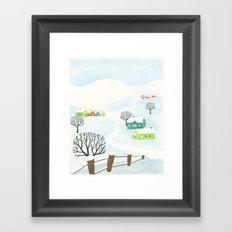Snowy Little Town Framed Art Print